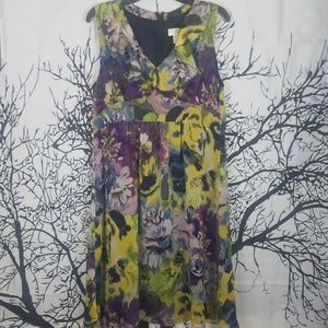 Loft | Purple & Yellow Floral Sheer Dress  size 14